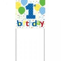Parti Yıldızı - 1 Yaş Erkek Balonlar Pankart
