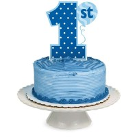 Parti Yıldızı - 1 Yaş Mavi Pasta Süsü