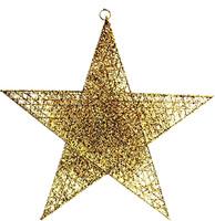Parti Yıldızı - Tavan Süsü Simli Tel Yıldız Altın Rengi