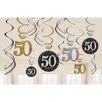 Parti Yıldızı - Altın - Siyah Renk 50 Yaş Işıltılı Dalga Süs 12 Adet