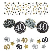 Parti Yıldızı - Altın Siyah Renk Işıltılı 40 Yaş Masa Üzeri Konfet