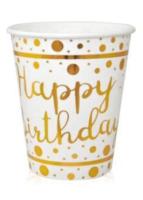 Balonevi - Altın Varaklı Happy Birthday Beyaz Bardak