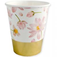 BALONEVI - Altın Varaklı Çiçek Desenli Bardak 6 Adet