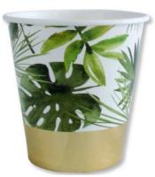 BALONEVI - Altın Varaklı Tropikal Yapraklar Bardak 8 Adet