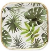 Balonevi - Altın Varaklı Tropikal Yapraklar Kare Tabak 8 Adet