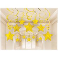 Parti Yıldızı - Parlak Altın Rengi Dalgalı Süs 30 Adet