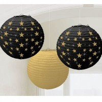 Parti Yıldızı - Altın Yıldız Baskılı Siyah Fener