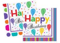 BALONEVI - Balon Desenli Çizgili Puanlı Happy Birthday Renkli Peçete