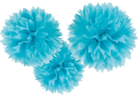 AMSCAN - Bebek Mavi Rengi Ponpon Çiçek 3 Adet