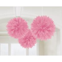 AMSCAN - Bebek Pembe Rengi Ponpon Çiçek 3 Adet