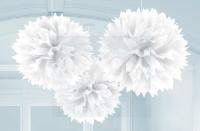 AMSCAN - Beyaz Renk Ponpon Çiçek 3 Adet