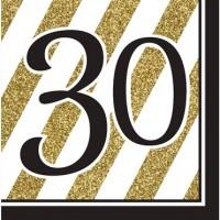 Parti Yıldızı - Black & Gold 30 Yaş 16 lı Peçete
