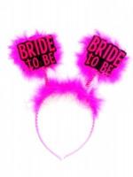 Parti Yıldızı - Bride To Be Fuşya Tüylü Taç