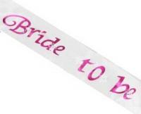 Parti Yıldızı - Bride To Be Beyaz Altın Pırıltılı Saten Vücut Bandı