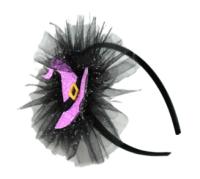 Parti Yıldızı - Cadı Şapkalı Dekorlu Taç Lila Renk