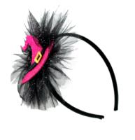 Parti Yıldızı - Cadı Şapkalı Dekorlu Taç Pembe Renk