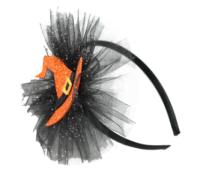 Parti Yıldızı - Cadı Şapkalı Dekorlu Taç Turuncu Renk