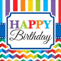 AMSCAN - Chevron ve Çizgiler Happy Birthday Küçük Peçete 25x25cm 16 Adet
