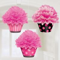 Parti Yıldızı - Cupcake Ponpon Süs Seti Pembe Renk 3lü