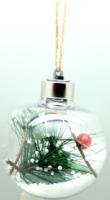 Parti Yıldızı - Dekoratif Işıklı Çam Ağacı Süsü Şeffaf Top 8 cm