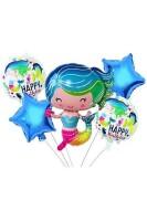 Parti Yıldızı - Deniz Kızı Folyo Balon Seti 5li