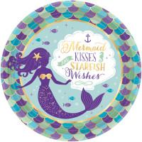 AMSCAN - Deniz Kızı Partisi Tabak 8 Adet
