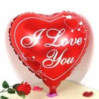 Parti Yıldızı - Desenli I Love You Kırmızı Folyo