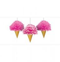 AMSCAN - Dondurma Şeklinde Ponpon Çiçek 3 Adet
