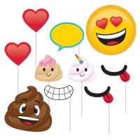 Parti Yıldızı - Emojiler Fotoğraf Çekme Aksesuarı 10 Adet