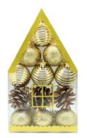 Parti Yıldızı - Ev Kutulu Çam Ağacı Süsü Altın Rengi