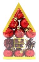 Parti Yıldızı - Ev Kutulu Çam Ağacı Süsü Kırmızı Renk