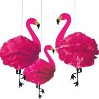 AMSCAN - Flamingo Şeklinde Ponpon Çiçek 3 Adet