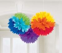AMSCAN - Gökkuşağı Renklerinde Ponpon Çiçek 3 Adet