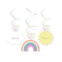 AMSCAN - Gökkuşağı ve Bulutlar Partisi Dalgalı Süs 6 Adet