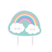 AMSCAN - Gökkuşağı ve Bulutlar Partisi Dekor Mum