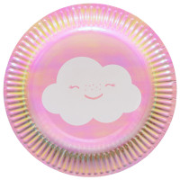 AMSCAN - Gökkuşağı ve Bulutlar Partisi Küçük Tabak 8 Adet