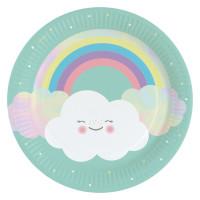 AMSCAN - Gökkuşağı ve Bulutlar Partisi Tabak 8 Adet