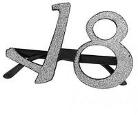 Parti Yıldızı - Parti Gözlüğü 18 Yaş Simli Gümüş Renk