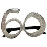 Parti Yıldızı - Parti Gözlüğü 60 Yaş Simli Gümüş Renk