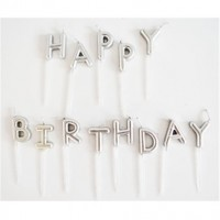 Parti Yıldızı - Mum - Happy Birthday Gümüş Renk