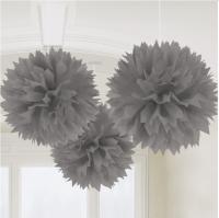 AMSCAN - Gümüş Rengi Ponpon Çiçek 3 Adet