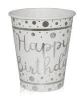 BALONEVI - Gümüş Varaklı Happy Birthday Beyaz Bardak
