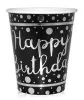 Balonevi - Gümüş Varaklı Happy Birthday Siyah Bardak