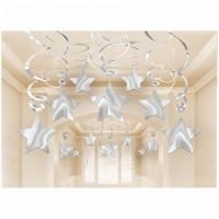 Parti Yıldızı - Gümüş Yıldız Asma Dekor 30 Adet
