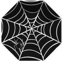 Parti Yıldızı - Halloween Örümcek Sekizgen Siyah Tabak 8 Adet