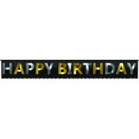 Parti Yıldızı - Happy Birthday Banner Siyah Üzeri Gold - Püsküllü