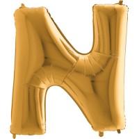 Parti Yıldızı - Harf Balon N Harfi Gold - 100 CM