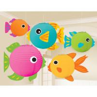 AMSCAN - Hawaii Partisi Balık Dekorlu Kağıt Fener Seti 5 Pa