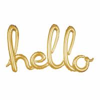 Parti Yıldızı - Hello Yazısı Gold Folyo Balon