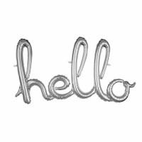 Parti Yıldızı - Hello Yazısı Gümüş Folyo Balon